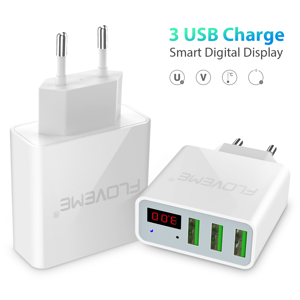 FLOVEME 3-Ports USB Charger LED Display EU/US Plug Adapter For iPhone X 8 7 6S 6 Plus Travel Portable Phone Fast Charging