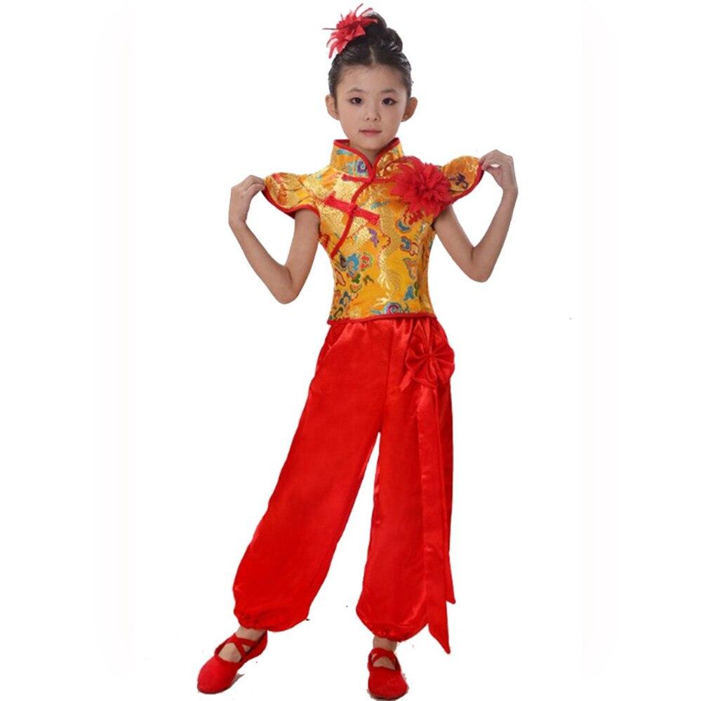 Chinese Folk Dance Costume Kung Fu Dance Costume Boy And Girl Yangko Costume Traditional Fan Dance Clothing Dropshipping