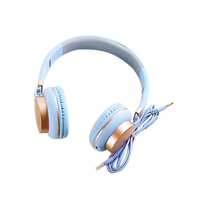 Biru Muda Headphone Adjustable Musik Headphone Foldable Headset dengan  Mikrofon Wanita Headset Gaming Hot Pink 23dce42d40