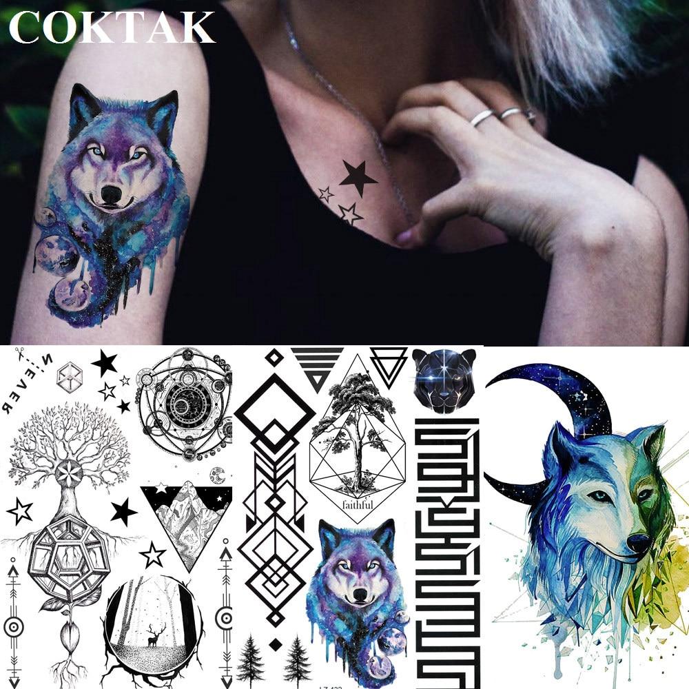 COKTAK Galaxy Watercolor Blue Wolf Temporary Tattoos Geometric Tree Diamond Armband Tatoos Body Art Arm Sleeve Tattoo Stickers