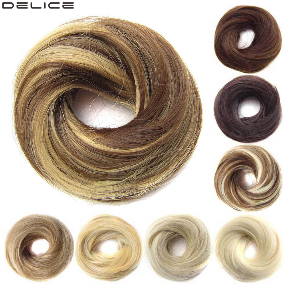 Delice Girls Rubber Band Straight Scrunchie Brown Blonde Donut Chignon Wrap Hair Ring High Temperature Synthetic Hair Pieces