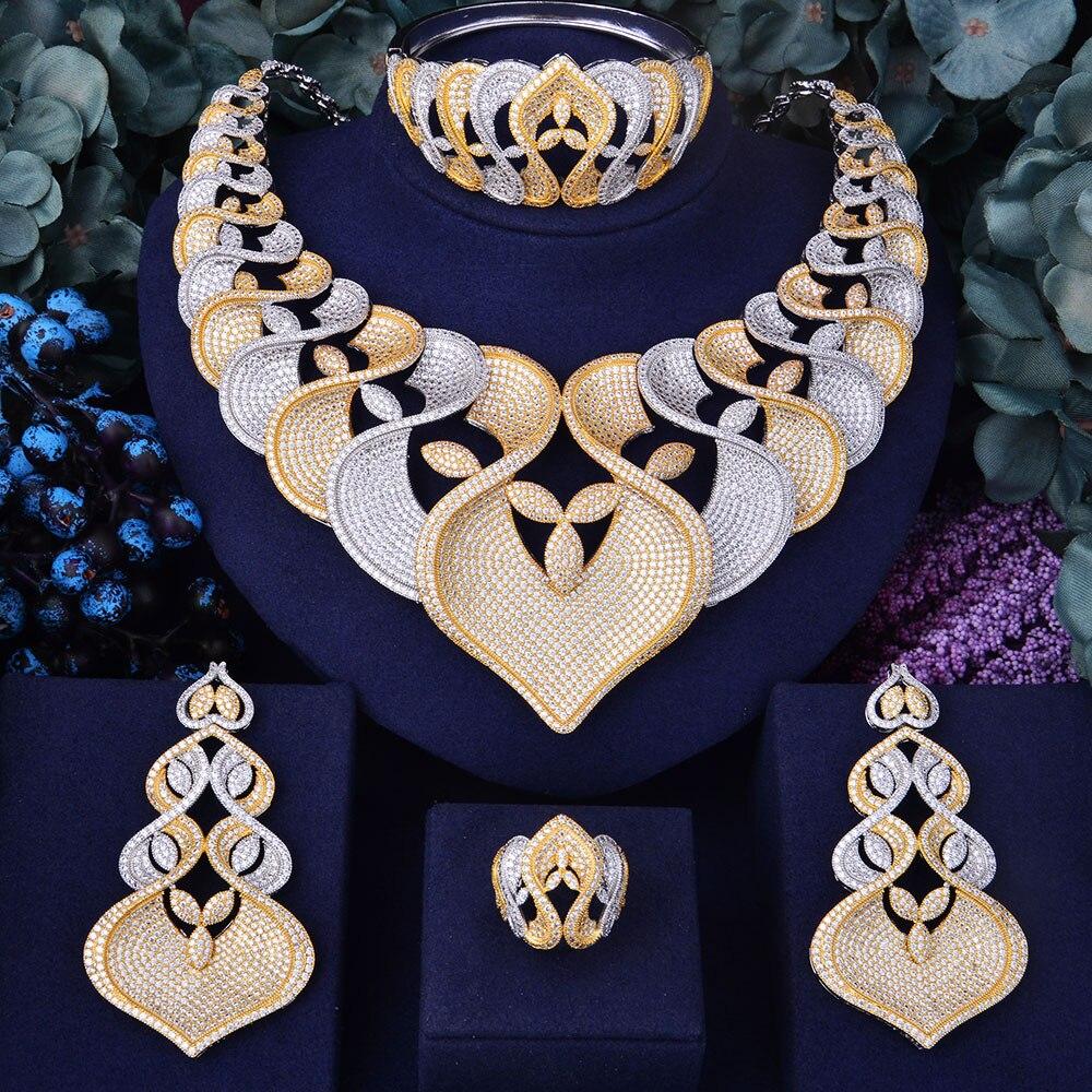GODKI Super De Luxe Géométrie Fleur Femmes De Mariage Cubique Zircone Collier Ras Du Cou Boucle D'oreille Dubaï Ensemble de Bijoux Bijoux Addict