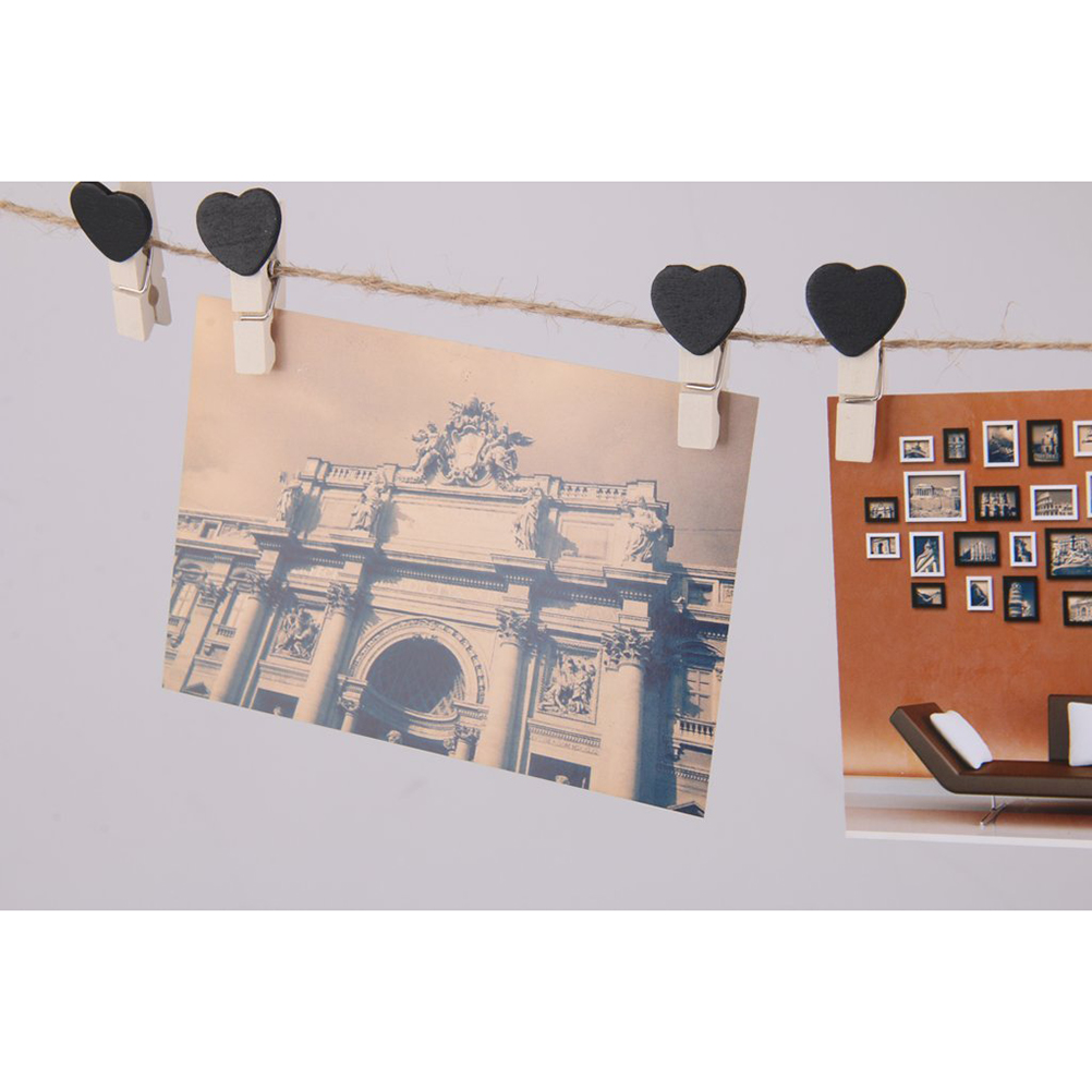 10pcs Wooden Heart Pegs Clips Picture Hanging Holder Card Party Wedding  Decor (black)(