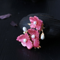925 sterling silver pink glass 3 flowers natural pearls brooch pendant