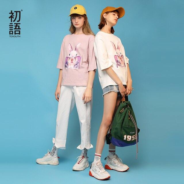 Toyouth Rabbit Printed Lovely Pattern Summer Women Girls T-Shirt Casual Round Neck Loose Short Sleeve Shirt Basic Female Tops