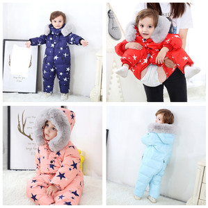 Image 4 - 2019 חדש חורף סרבלי הלבשה עליונה 4 צבע ילדים חורף מעיל עבור בנות חליפת שלג, למטה בני מעיל 1 4 שנים סרבל חם תינוק