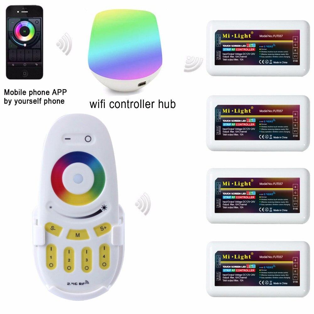 Mi lumière 2.4G 4 Zone WIFI LED contrôleur IBox + RF remote touch + RGB Controller Dimmer pour RGB LED Bande Lumière DC12V-24V