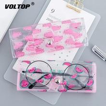 1 قطعة الكرتون لطيف اكسسوارات السيارات شفافة PVC العين نظارات مربع حقيبة حالة صندوق واقي نظارات اكسسوارات للبالغين أطفال