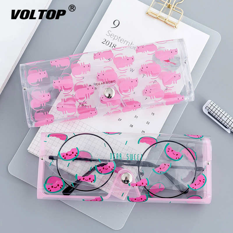 1PCS Cartoon Cute Car Accessories Transparent PVC Eye Glasses Box Bag Case Protection Box Eyewear Accessoires for Adults Kids-in Glasses Case from Automobiles & Motorcycles