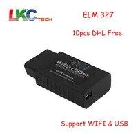 10pcs Lot DHL Free Newly ELM327 WIFI USB ELM 327 OBD Scanner Diagnostic Tool Wifi OBD