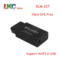 10pcs Lot DHL Free Newly ELM327 WIFI USB ELM 327 OBD Scanner Diagnostic Tool Wifi OBD