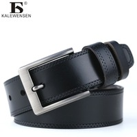 Fashion High Quality Men Luxury Belt Genuine Leather For Male Jeans Cowboy Metal Buckle Belt Black