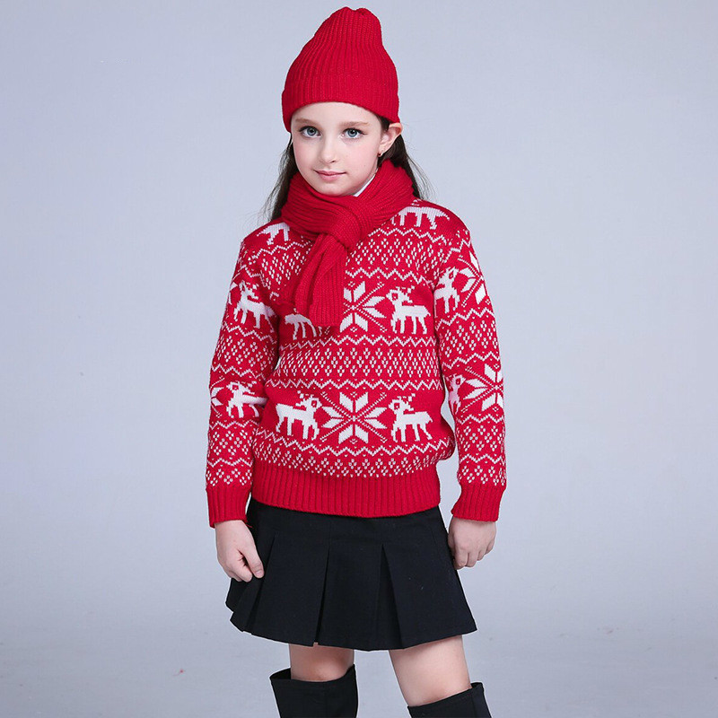 Kids Boy Casual Sweater Santa Deer Christmas Winter Pullover Knitted Long Sleeve