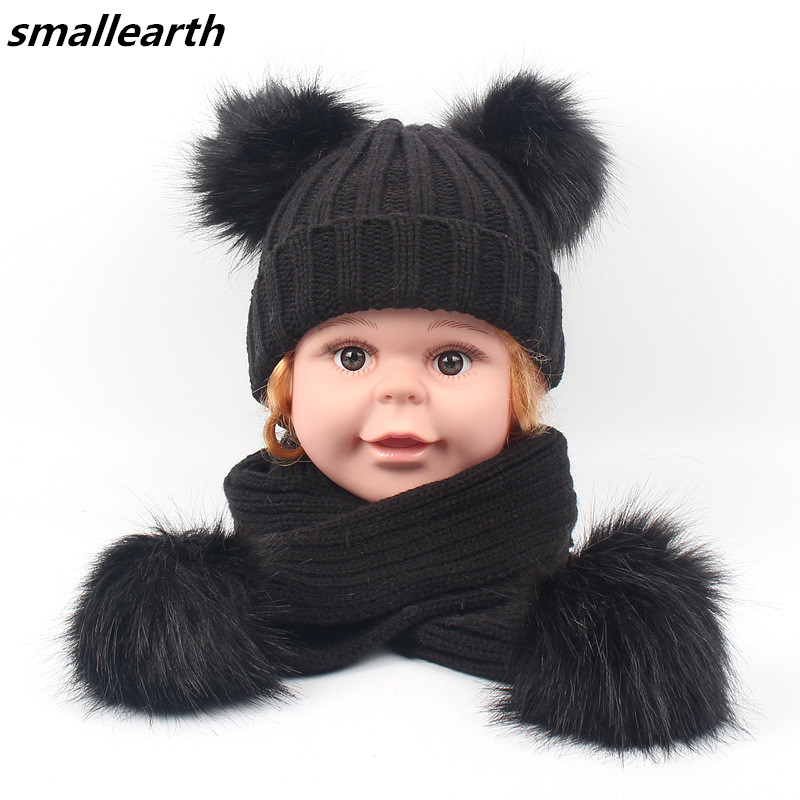 Children Scarf And Hat Sets Winter Boys Girl Double Faux Fur Pompom Cap Scarf Set Baby Kids Warm Knitted Beanies Hat Long Scarf