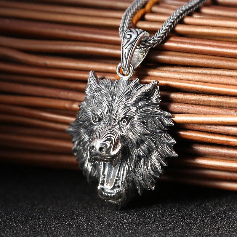 Pendentif dent de loup collier en argent Sterling pour homme fait à la main pendentif tête de loup dominateur rétro personnalité cadeau d'anniversaire Punk
