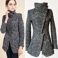 2016 Европейский стиль зима женщины куртки шерстяные пальто с отложным воротником Ветрозащитный толстая верхняя одежда feminina