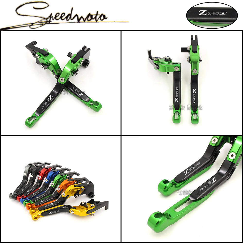 For KAWASAKI Z750 2007 2012 Motorcycle Accessories Adjustable Folding Extendable Brake Clutch Levers Green Color