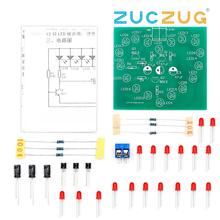 DIY Kit Music Flash Light Kits 18 LEDs Heart-Shaped Red Green Dual-Color Flashing Happy Birthday Mus