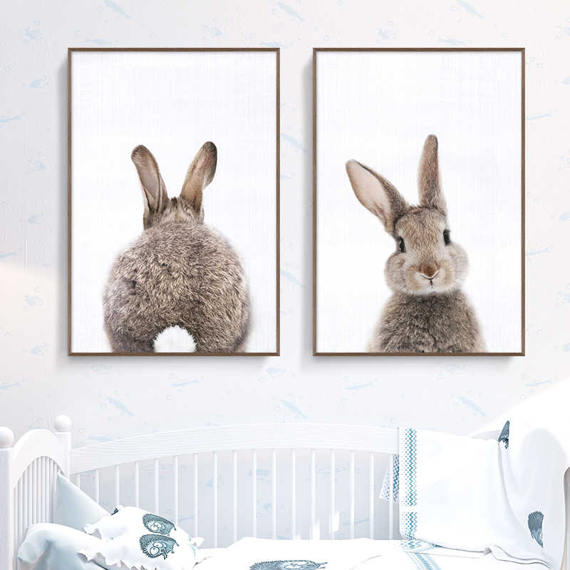 Nordic Canvas Painting Cute Rabbit Minimalism Animal Wall Art Posters And Prints Wall Pictures Kids Room Baby Girls Room Decor
