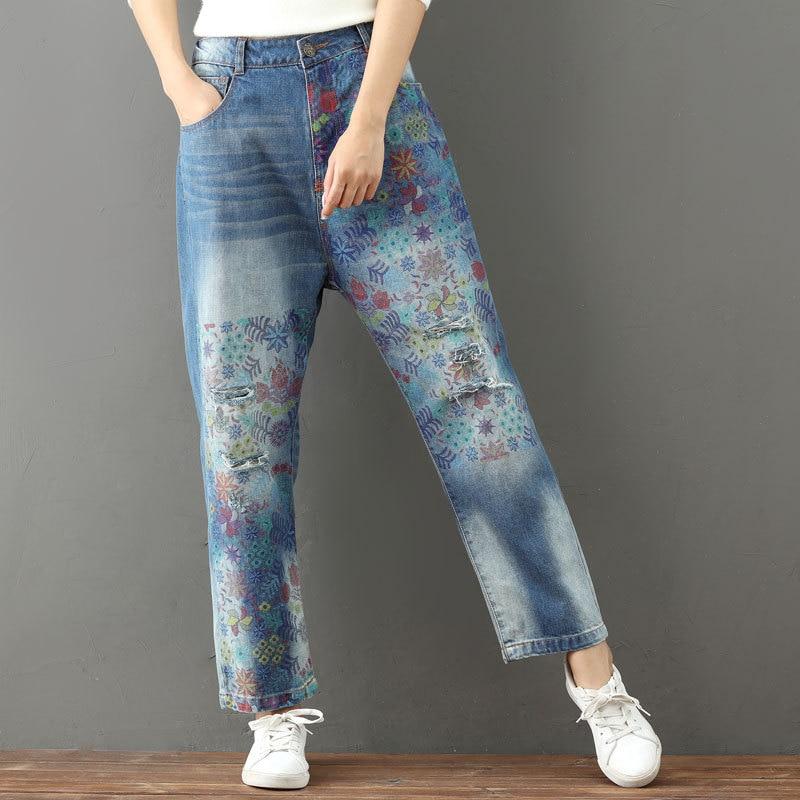 Spring Loose Vintage Retro Hippie Boho Bohemian Floral Print Harem Pantalon Capri Elastic Waist Jeans Pants for Women Trousers
