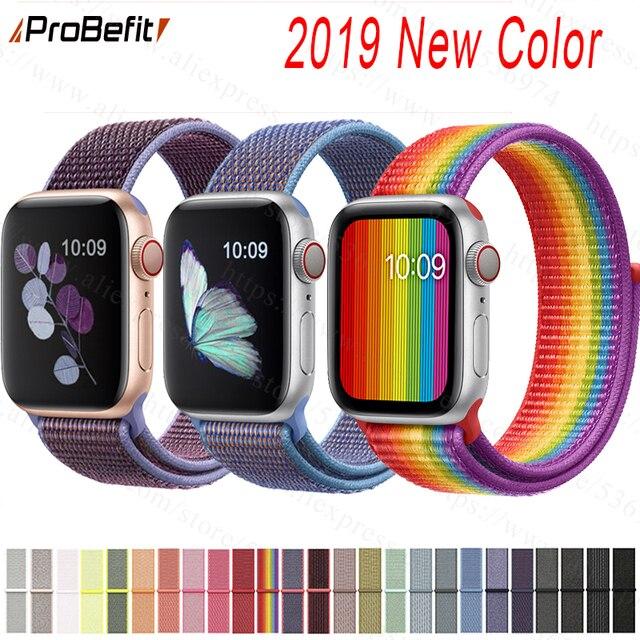 Banda para Apple Watch Series 3/2/1 38 MM 42 MM Nylon suave transpirable correa de repuesto deportivo bucle para serie iwatch 4 40 MM 44 MM