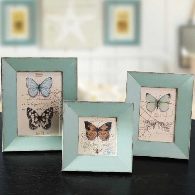 Wall Hanging Photo Frame Fotoframe Photo Frames Photos for Picture Mini Wooden Frame Fashion Green Yellow Brown Blue 4 6 7 Inch