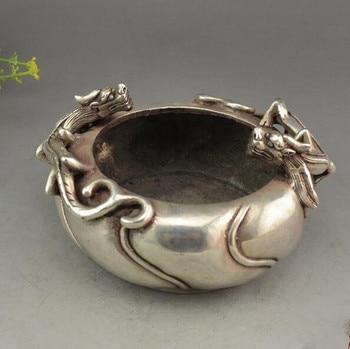 China collection archaize white copper double dragon ashtray crafts statue