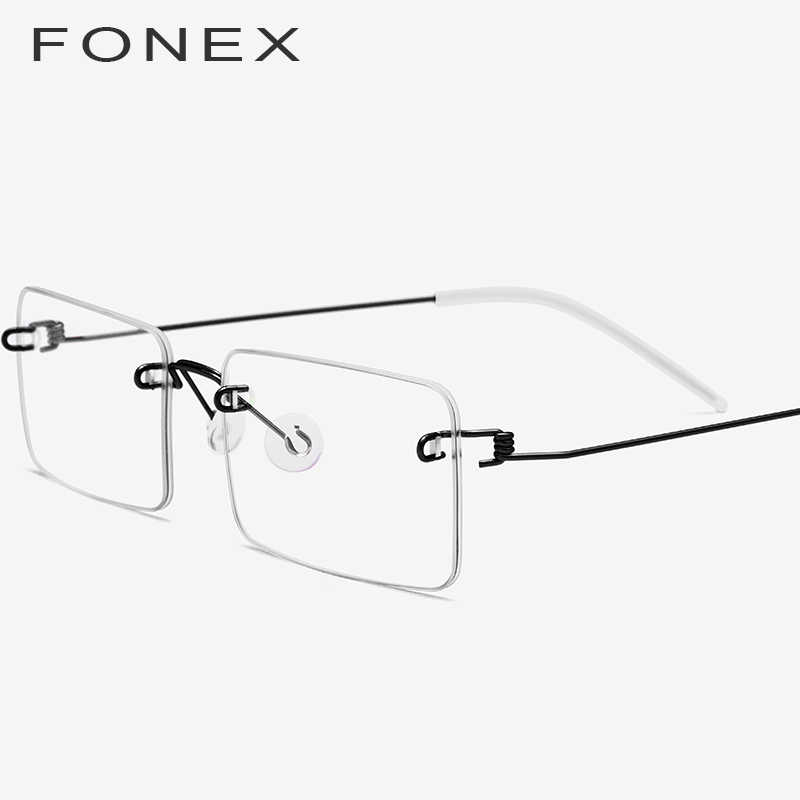 ca67ce23f52 FONEX Screwless Eyewear Prescription Eyeglasses Women 2019 Rimless Square Myopia  Optical Korean Titanium Alloy Glasses Frame