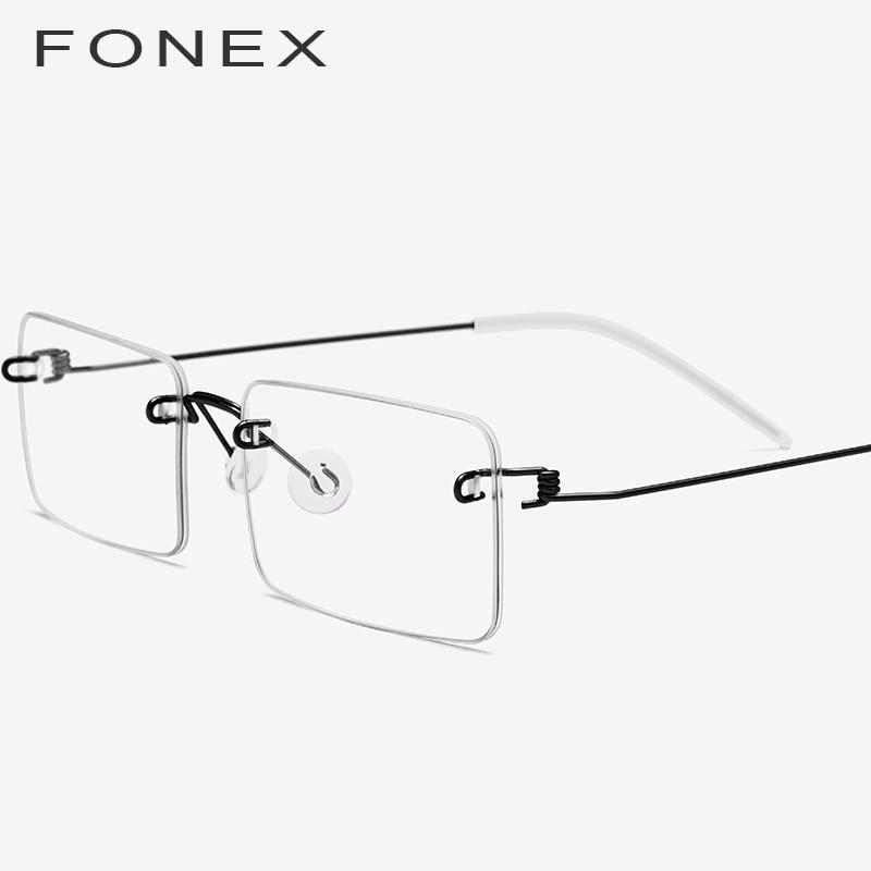 Fonex Screwless Eyewear Prescription Eyeglasses Women 2019 Rimless Square Myopia Optical Korean Titanium Alloy Glasses Frame Men