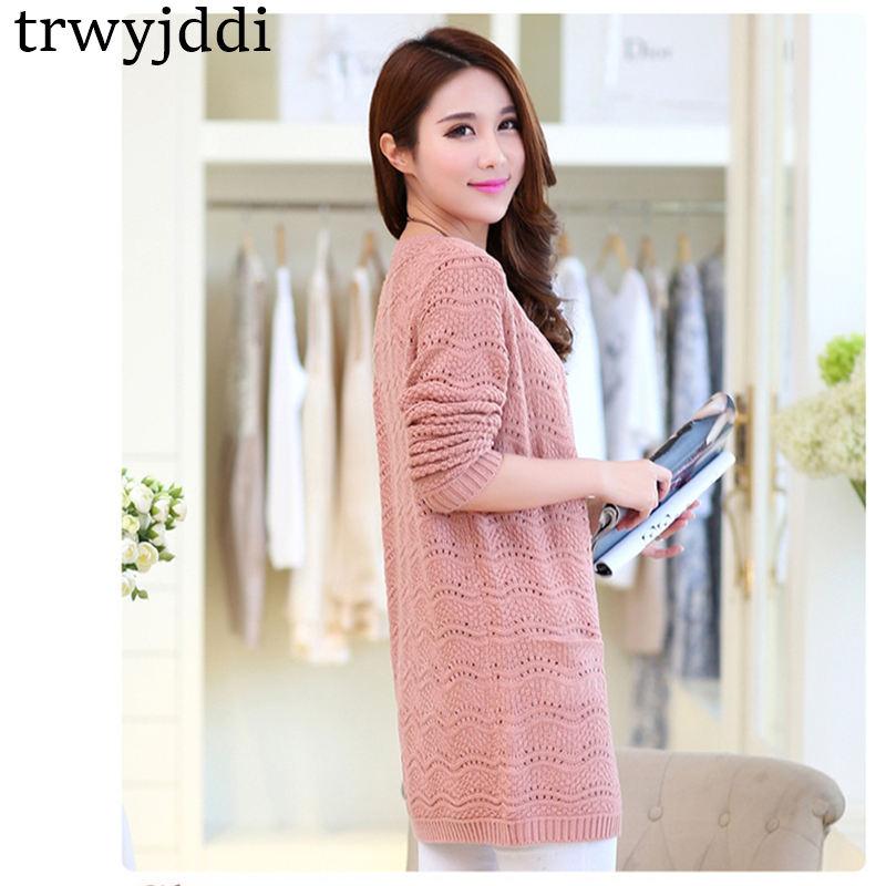 Multicolor S-4XL Spring Sweater Cardigan Women 2018 Summer Thin Knit Korean Long Large Size Loose Shawl Sweater Jacket Coat h486