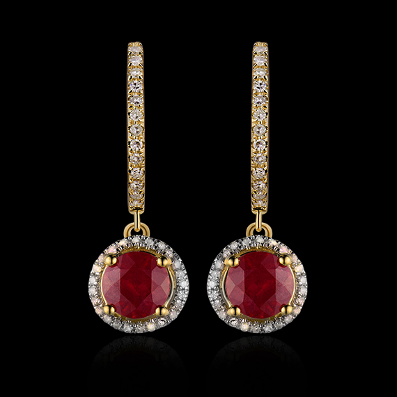 Us 399 0 4 26ct Solid 14kt Yellow Gold Diamond Red Ruby Earrings For Women S Wedding Jewelry E0003ab In From Accessories On
