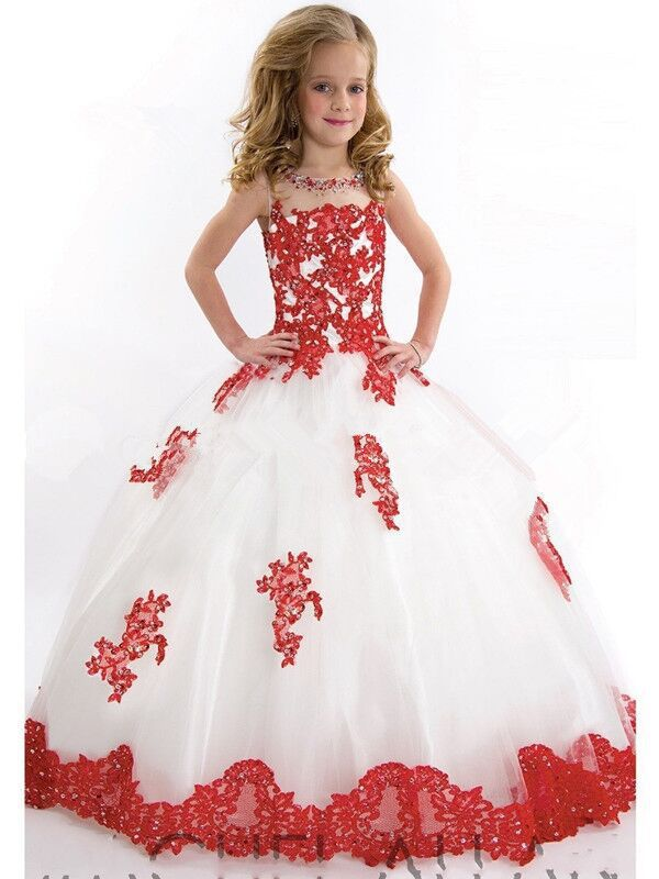 free shipping flower girl dresses ball gown beading appliques 2015 ...