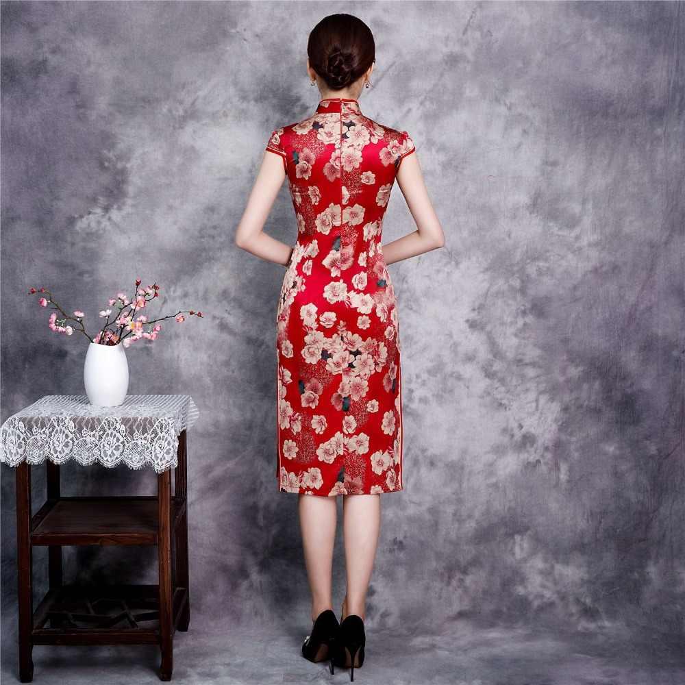 赤膝丈レーヨン中国風ドレスヴィンテージ女性ショート袍クラシックステージショーエレガントな女性のチャイナプラスサイズ XXXXL