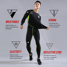 BINTUOSHI Men Sports Suit Compression Sweat Quick Drying Gym Fitness Long Sleeve With Pants