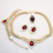 Good Quality!Gold Color Rhinestone Crystal Drop Pendent Necklace Earrings Bracelet Ring Jewelry Sets FOR BRIDAL