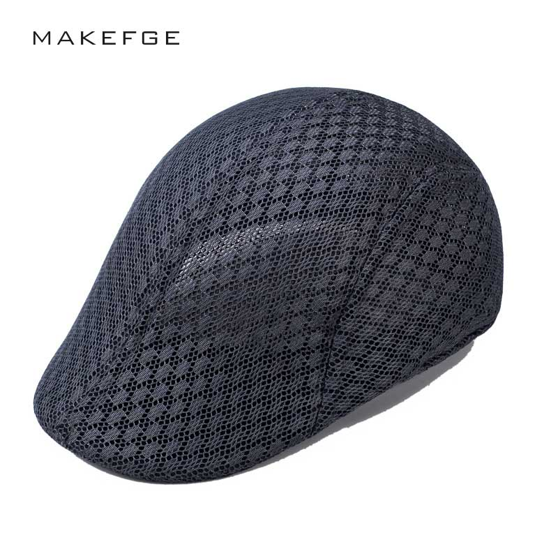 Hats Berets-Caps British-Style Summer Mesh Breathable Casual Man Spring Classic Solid