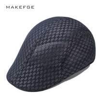 Wiosna lato brytyjski styl klasyczny mężczyzna Mesh berety czapki Casual Solid Color czapki z daszkiem berety kapelusze oddychająca czapka Casquette tanie tanio MAKEFGE Dorosłych Unisex COTTON Berets Stałe Na co dzień Black Coffee White Gray Khaki Red Blue Navy 56-58CM Berets cap