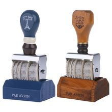 Wooden Date Stamp For DIY Scrapbooking Craft Decor Rolling Wheel Vintage Supply