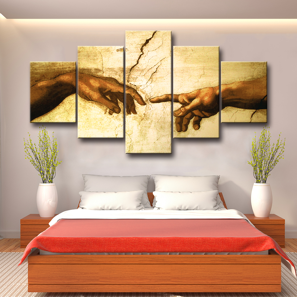Canvas Painting Creation of Adam! Hand of god! Classical Religion 5 pieces Wall Art Pictures Living Room Home Decor Print Poster