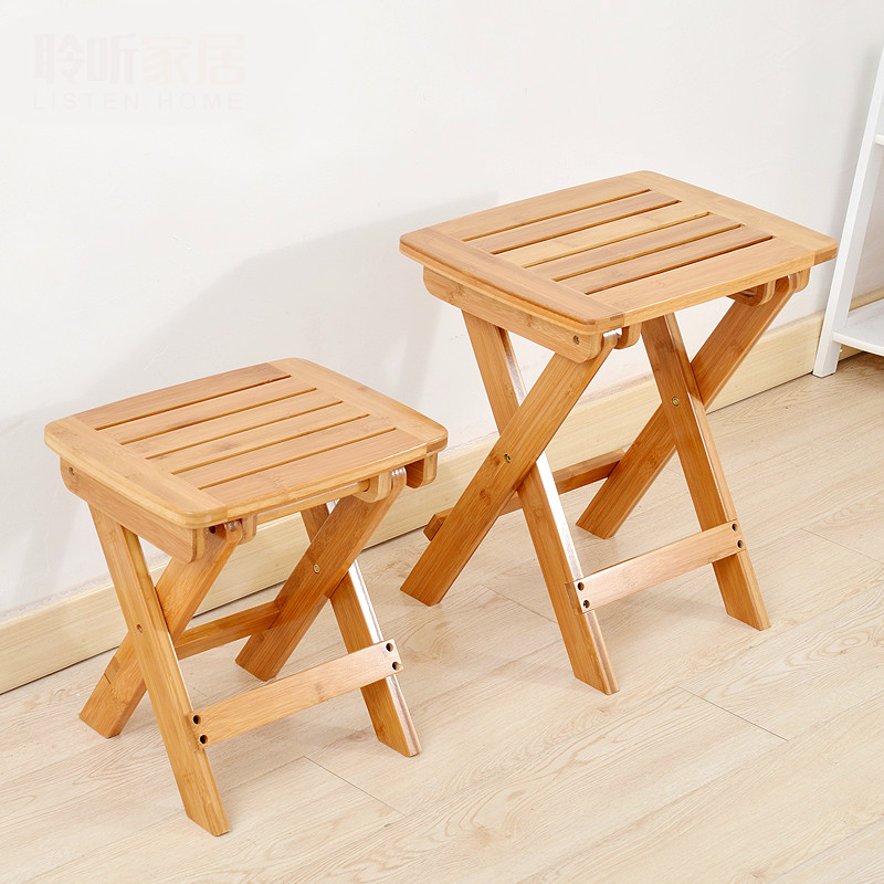 High Quality Bamboo Chair Bench Stool Wooden Portable Foldable Hand-held Chair Envionmetally Material Leisure Gift for Parents bamboo bamboo portable folding stool have small bench wooden fishing outdoor folding stool campstool train