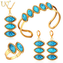 U7 Blue Stone Jewelry Sets For Women Gold/Silver Color Costume Wedding Jewelry Set For Brides Turkish Jewelry S697(China)