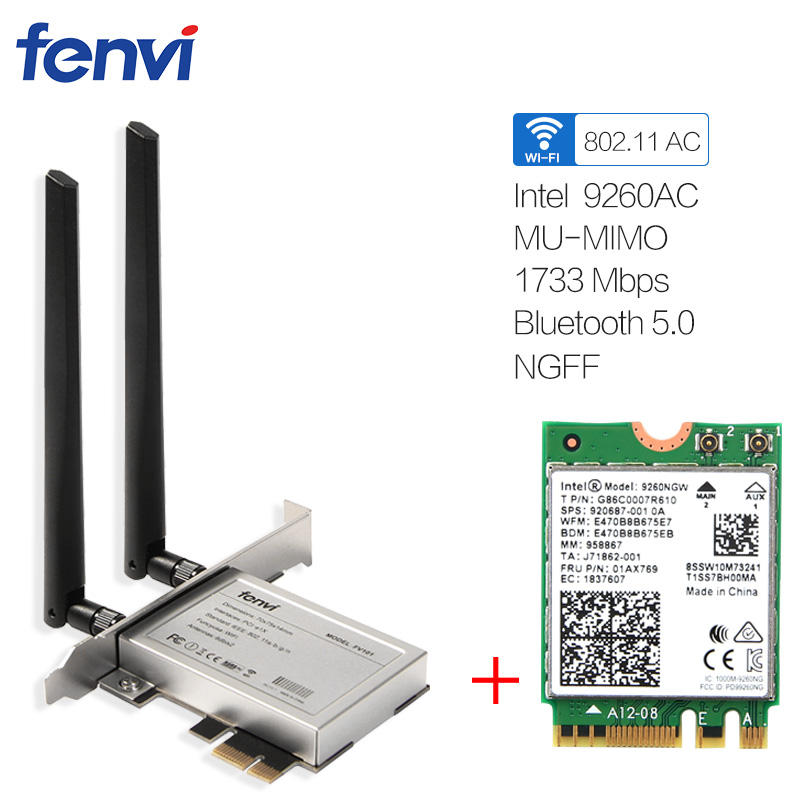Ordinateur de bureau Sans Fil Intel 9260 9260ac Double Bande 1730 Mbps MU-MIMO Windows 10 WiFi Bluetooth 5.0 Gaming Wlan PCI-E 1X carte