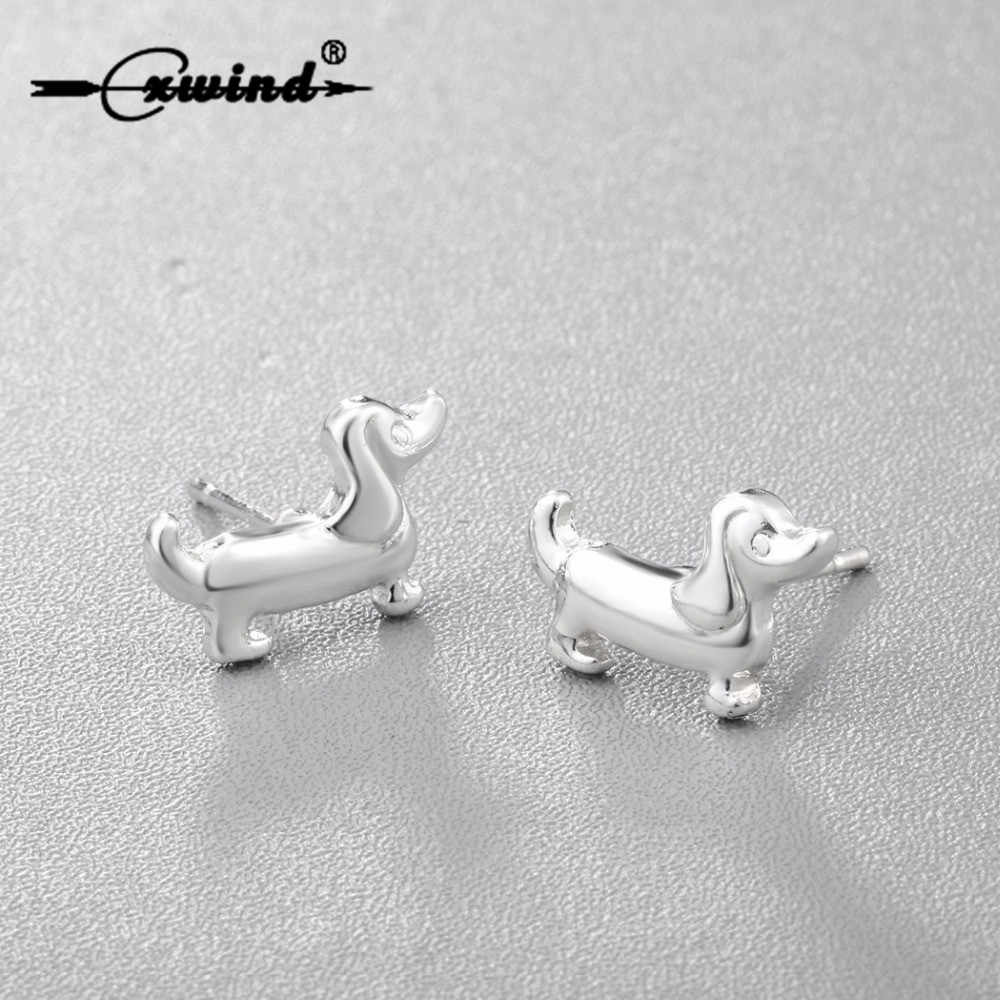 Cxwind Fashion Cute Animal Paw Print Earrings Tiny Sausage Dog Dachshund Stud Earring for Women Lady Heart Earring Jewelry