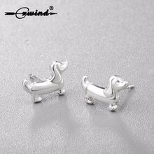 Cxwind Fashion Cute Animal Paw Print Earrings Tiny Sausage Dog Dachshund Stud Earring for Women Lady Heart Earring Jewelry(China)