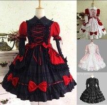 Gótico de halloween del victorian lolita dress cosplay larga con gradas acodado mujeres dress vintage retro encaje vestidos fiesta bata de pelota