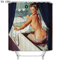 3d Mermaid Shower Curtains Set Waterproof Shamless Bathroom Products Fabric Washable Marilyn MonroeSexy Bath Curtain With