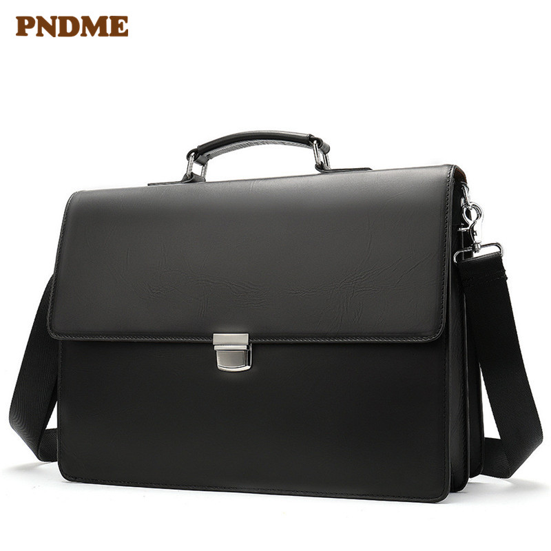 PNDME High Quality Business Genuine Leather Black Men's Briefcase Casual Simple Designer Laptop Shoulder Bag Messenger Bags 2019