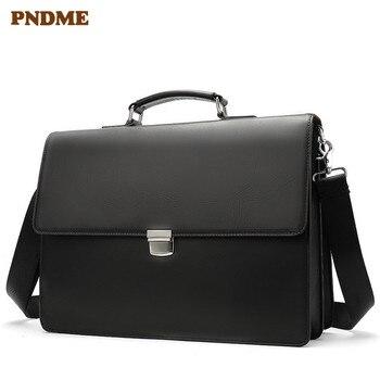 PNDME high quality business genuine leather black mens briefcase casual simple designer luxury laptop shoulder messenger bags