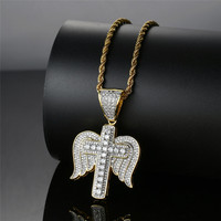 Iced Out Cross Pendant Necklace For Men Whit Gold Chain Hip Hop Jewelry Cubic Zirconia Angel Wings Pendant Necklace