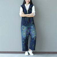 Spring Women S Clothing Loose Plus Size Printing Denim Jumpsuit Fashion Female Trousers Cotton Leisure Women
